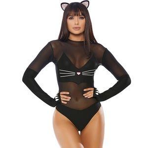 Sly Kitty Costume Long Sleeve Bodysuit Ears Tail